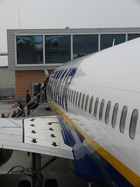 Overwing emergency exit of Ryanair Boeing 737-800 (Next Generation) EI-DPN at Brussels South Charleroi Airport.