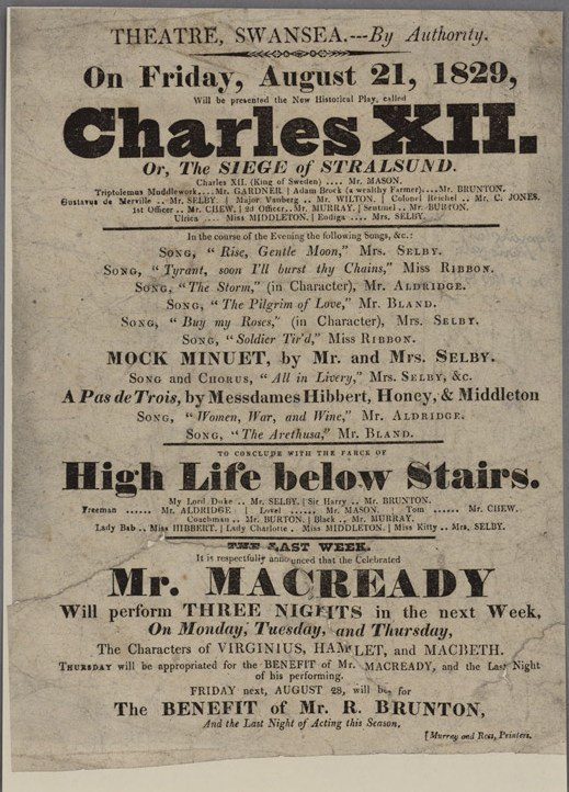 Charles XII High Life below Stairs Mr. Macready 1829
