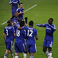 Chelsea players celebrate Chelsea 3 Watford 0 FA Cup 3rd round.jpg
