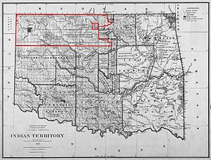 Land Run of 1893 - The Cherokee Outlet (1885) outlined in red