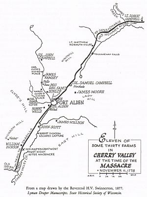 Cherry Valley massacre - Map of Cherry Valley at the time of the massacre