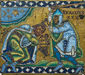 Theophylact Simocatta - Byzantine Emperor Heraclius receiving the submission of the Sassanid king Khosrau II – during Simocatta's times (plaque from a cross. Champlevé enamel over gilt copper, 1160–1170, Meuse Valley). Housed at the Louvre.