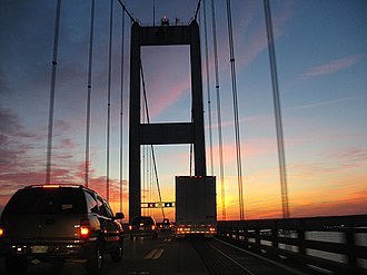 Chesapeake Bay Bridge - The westbound span at sunset. The leftmost lane is closed to westbound traffic.