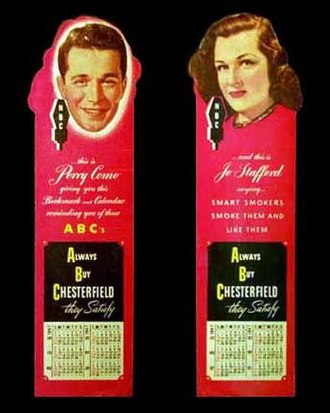 The Chesterfield Supper Club - Promotional bookmark/calendar for the show from 1947. Perry Como is shown on one side and Jo Stafford on the other.
