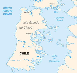 Gulf of Corcovado - Chiloé Island and Gulf of Corcovado to the east