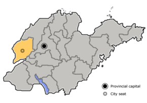 Liaocheng is highlighted on this map