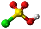 Ball-and-stick model of the chlorosulfuric acid molecule