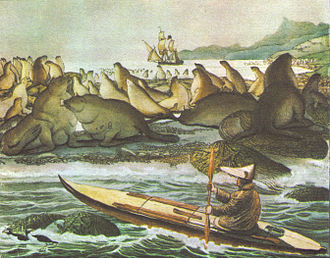 "Bering Sea - The Russian ""Rurik"" sets anchor near Saint Paul Island in the Bering sea in order to load food and equipment for the expedition to the Chukchi sea in the north. Drawing by Louis Choris in 1817."