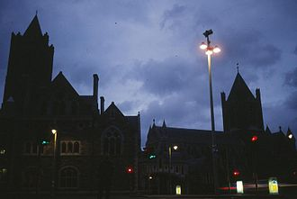 Christ Church Cathedral, Dublin - The cathedral's night-time silhouette as it appeared in the 1990s