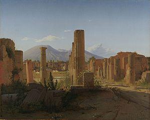 Le Forum de Pompéi avec le Vésuve en fond