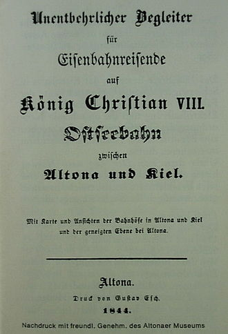 "Altona-Kiel Railway Company - Cover of ""Essential companion for travelers on the King Christian VIII Baltic Railway between Altona and Kiel"", published 1844"