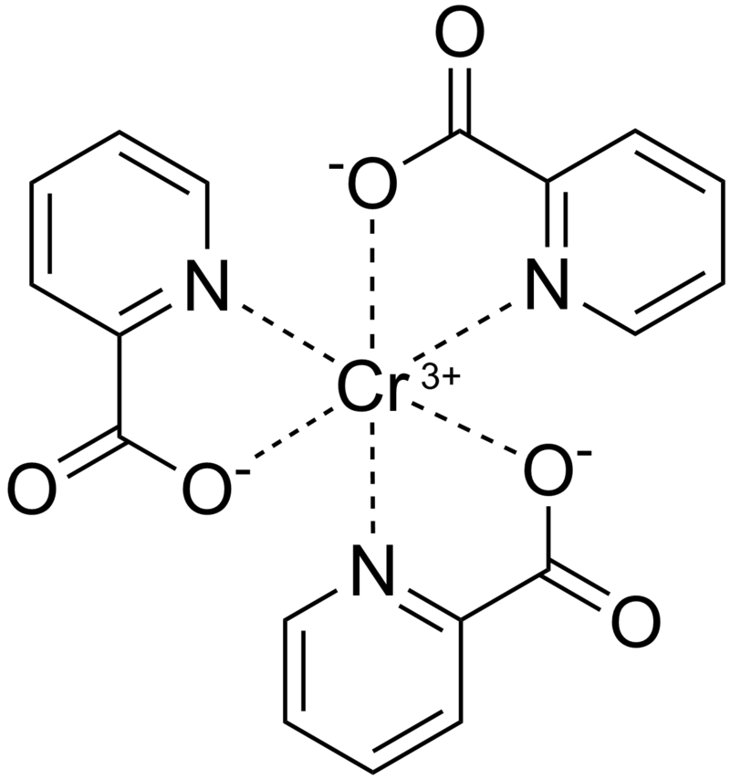 Skeletal formula of chromium(III) picolinate