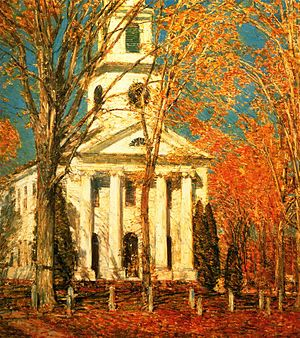 Old Lyme art colony - Church at Old Lyme, Childe Hassam, 1905.  Albright-Knox Art Gallery, Buffalo, New York.