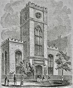 "Detailed drawing of a ""semi-Gothic"" style church."