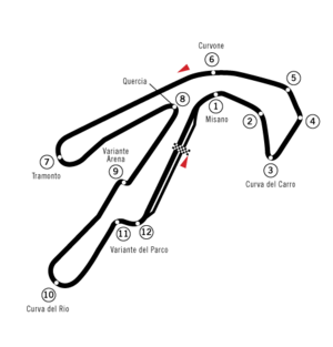 "Misano World Circuit Marco Simoncelli - The original circuit layout until 2006, known as ""Circuito Internazionale Santamonica"""