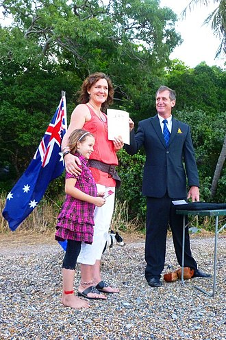Australian nationality law - Citizenship ceremony on beach near Cooktown, Queensland. 2012