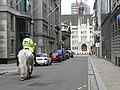City of London, mounted policeman approaches the Guildhall - geograph.org.uk - 490981.jpg