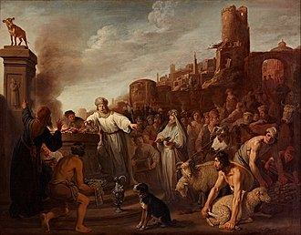 Jeroboam - Jeroboam sacrificing to his idol, oil on canvas by Claes Corneliszoon Moeyaert, 1641
