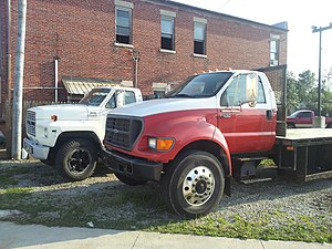 Ford F-650 - 2002 Ford F650 Super Duty alongside a 1989 Ford F600