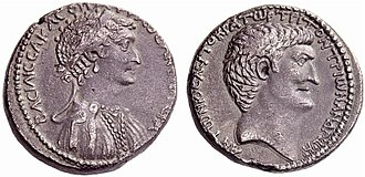 Final War of the Roman Republic - Cleopatra and Mark Antony on the obverse and reverse, respectively, of a silver tetradrachm struck at the Antioch mint in 36 BC
