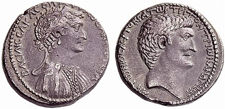 Cleopatra and Mark Antony on the obverse and reverse, respectively, of a silver tetradrachm struck at the Antioch mint in 36 BC, with Greek legends: BACILICCA KLEOPATRA ThEA NEOTERA, ANTONIOC AYTOKPATOP TPITON TPION ANDPON. Cleopatra Tetradrachm Antiochia.jpg