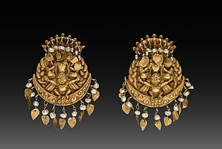 Pair of Earrings with Four-Armed Vishnu Riding Garuda with Nagas (serpent divinities)