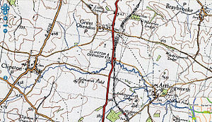 Clipston and Oxendon railway station -  Location of Clipston and Oxendon station on 1948 Ordnance Survey map showing location of the station south of Oxendon tunnel