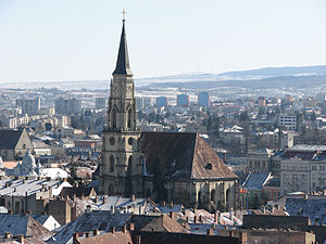 Centre of Cluj-Napoca, Romania, dominated by St.