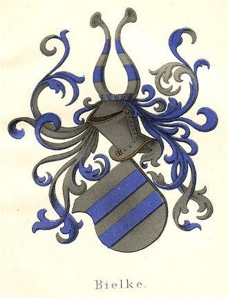 Danish heraldry - Canting coat of arms of the Bielke family (Bielke being an old spelling for bjælke, the Danish word for fess.)