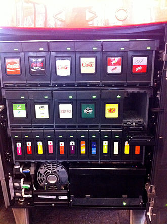 Coca-Cola Freestyle - Panel of Freestyle cartridges in the machine