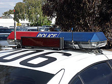 Emergency vehicle lighting wikipedia code 3 mx7000lightbar used by the new south wales police force also seen is an led message board which can display static or scrolling text aloadofball Images