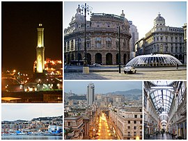 A collage of Genoa, clockwise from top left: Torre della Lanterna, Piazza de Ferrari, Galleria Mazzini, Brigata Liguria Street, view of San Teodoro from Genoa Port