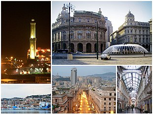 "A collage of Genoa, clockwise from top left: <a href=""http://search.lycos.com/web/?_z=0&q=%22Lighthouse%20of%20Genoa%22"">Torre della Lanterna</a>, <a href=""http://search.lycos.com/web/?_z=0&q=%22Piazza%20De%20Ferrari%20%28Genoa%29%22"">Piazza de Ferrari</a>, Galleria Mazzini, Brigata Liguria Street, view of San Teodoro from <a href=""http://search.lycos.com/web/?_z=0&q=%22Port%20of%20Genoa%22"">Port of Genoa</a>"