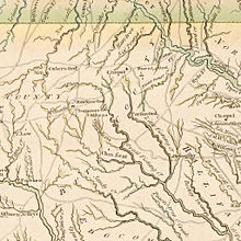 A map showing the general layout of rivers, homes, and settlements in Bute County, North Carolina