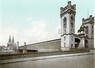 Cathedral Bridge road and rail bridge in Cologne, Germany from 1859 to 1909