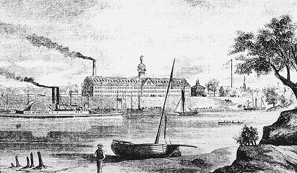 Colt's Armory from an 1857 engraving viewed from the east Colt Armory (1857).jpg