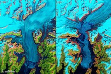 The Columbia Glacier in Alaska - 1986 vs 2011