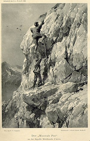 Aiguilles d'Arves - The 'bad step' on the Aiguille Méridionale d'Arves showing L. Purtscheller and Karl Blodig. Illustration by E.Compton, 1895.