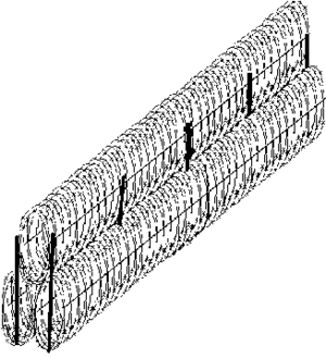 Concertina wire - A sketch of a typical concertina wire obstacle