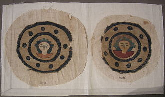 Byzantine dress - Two embroidered roundels from an Egyptian 7th century tunic