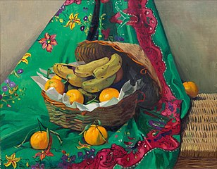 Basket of tangerines and bananas