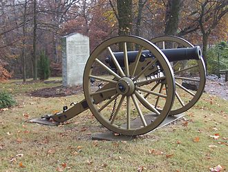 Nathan Bedford Forrest - Cannon in front of the Nature Center and Veteran's Memorial in Covington, Tennessee: The marker in the background cites Nathan Bedford Forrest's last speech. (2007)