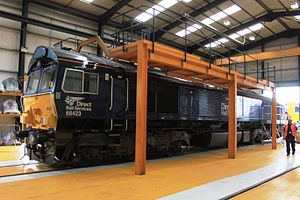 Direct Rail Services - Image: Crewe DRS 66423 in maintenance bay