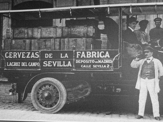 Cruzcampo Vintage Black and White of a Beer truck in Spain circa 1920s.JPG