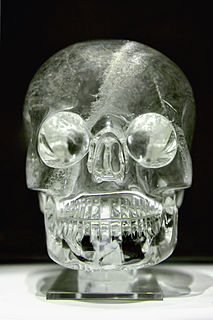 Crystal skull human skull stone carvings made of clear quartz, claimed to be pre-Columbian Mesoamerican artifacts with paranormal powers, but actually made in mid-19th century Europe
