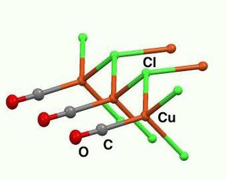 Organocopper compound - Part of the framework of CuCl(CO). In this coordination polymer, the Cu centers are tetrahedral linked by triply bridging chloride ligands.