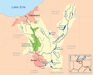 Map of the Cuyahoga River drainage basin