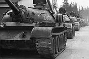 Czechoslovak People's Army tanks heading for border on training exercise 1960s or 1970s