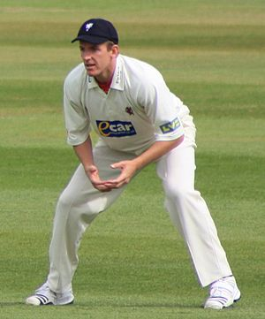 Damien Wright fielding at leg slip during a Co...