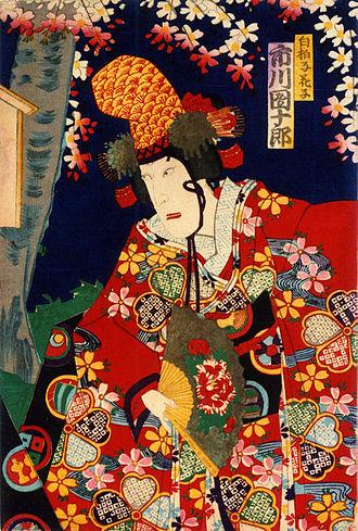 Utagawa Kunisada III - Danjūrō Ichikawa IV as Shirabyōshi Hanakjo in the April 1884 Tokyo Ichimura-za production of Chinzei Hachirō Eiketsu Monogatari, Act II Shunshoku Ninin Dōjōji, by Kunimasa Utagawa IV (1848–1920).